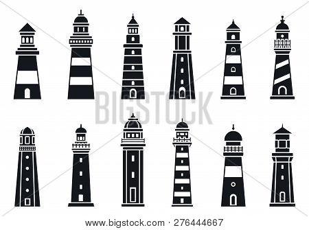 Coast Lighthouse Icon Set. Simple Set Of Coast Lighthouse Vector Icons For Web Design On White Backg