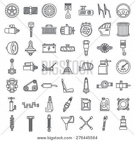 Maintenance Car Part Icon Set. Outline Set Of Maintenance Car Part Vector Icons For Web Design Isola