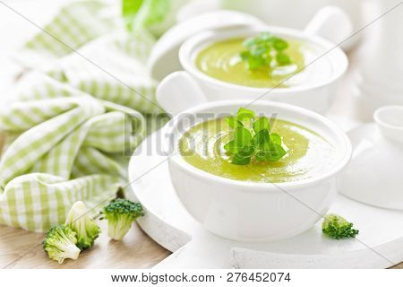 Vegetable Soup. Healthy Food, Vegetarian Dish. Vegetable Soup With Cabbage, Potato, Tomato, Carrot,