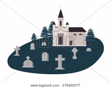 Old Graveyard, Cemetery Or Churchyard With Graves, Headstones Or Gravestones And Christian Church, K