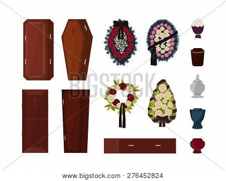 Collection Of Attributes For Funeral, Burial Ceremony, Mortuary Rituals Isolated On White Background