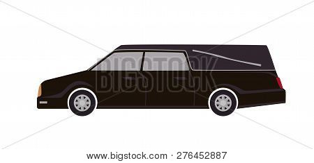 Black Hearse Isolated On White Background. Automobile Carrying Dead Body. First Call Vehicle, Funera