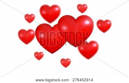 Hearts Background. Shiny Realistic 3D Valentines Red Hearts. Valentine's Day Background