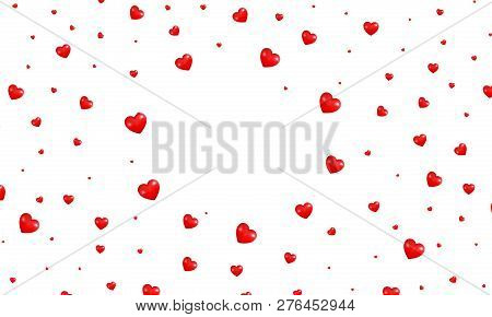 Valentine Hearts Background. Shiny Flying Red Hearts. Valentine's Day Background