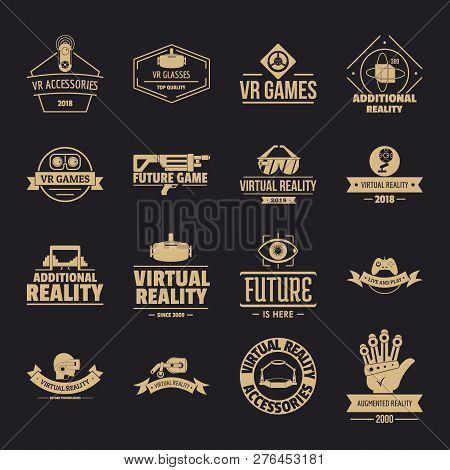 Virtual Reality Logo Icons Set. Simple Illustration Of 16 Virtual Reality Logo Vector Icons For Web