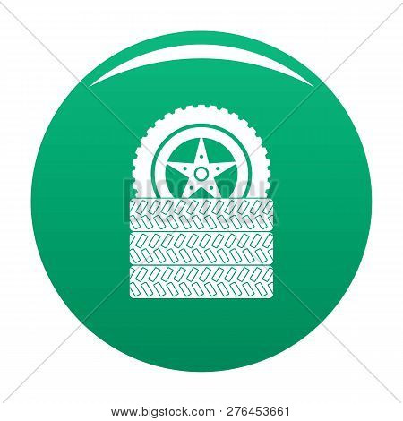 Tire Leap Icon. Simple Illustration Of Tire Leap Vector Icon For Any Design Green