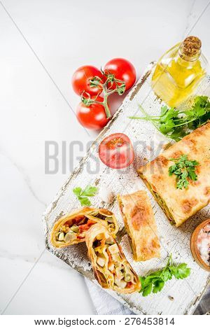 Vegetable Savory Strudel, Homemade Autumn Baking, With Tomatoes, Bell Pepper, Mushrooms, Wooden Back