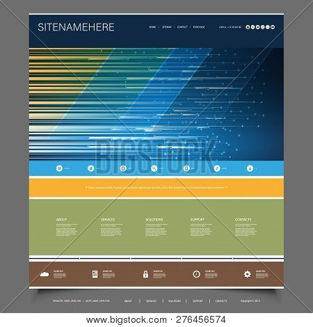 Business Or Technology Website Template Design With Abstract Colorful Striped Header