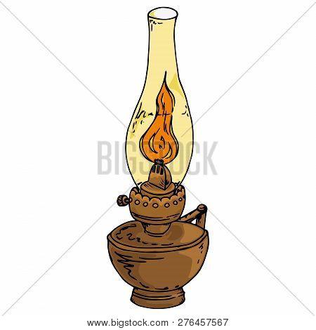 Kerosene Lamp. Oil Lamp. Vector Illustration Of A Kerosene Lamp. Hand Drawn Old Oil Lamp.