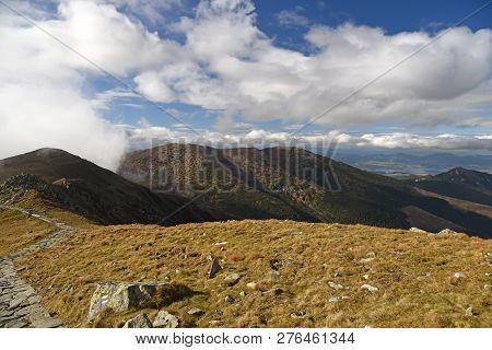 Autumn Nizke Tatry Mountains Near Derese Mountain Peak In Slovakia With Cobbled Hiking Trail, Mounta