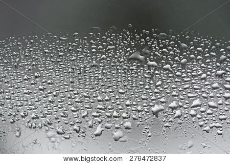 Condensation On Glass Closeup Double Glazing Water Drops