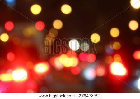 Colorful Background Bokeh Night Abstract Color, Blurred Defocused Multi Color Lights, Abstract Bokeh
