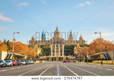 Montjuic hill in Barcelona, Spain on a sunny day poster