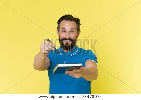 Signing Concept. Happy Man Offer Signing Paper Document. Book Signing Session. Signing Of Contract.