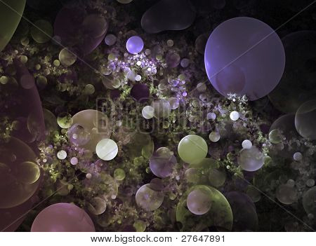 Abstract bubbles background. violet palette. raster fractal graphics. poster