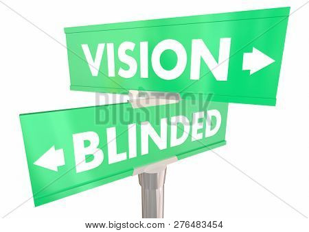 Vision Vs Blinded Sight or Blurred Two 2 Way Street Signs 3d Illustration