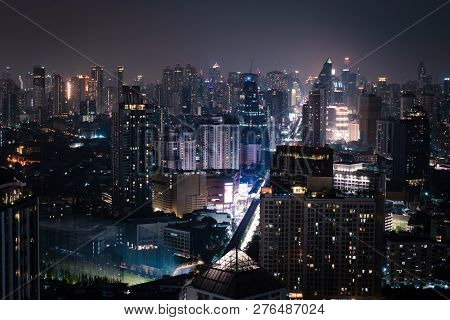 Ariel View Of City Of Bangkok Metropolis In Twilight