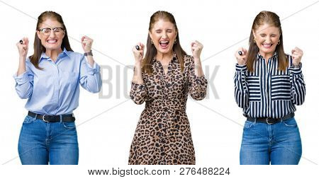 Collage of beautiful middle age woman over isolated background excited for success with arms raised celebrating victory smiling. Winner concept.