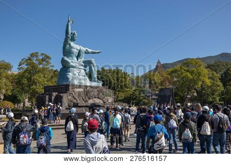 Nagasaki, Japan - October 25, 2018: Nagasaki Peace Statue by Seibo Kitamura at Nagasaki Peace Park in Nagasaki, Japan