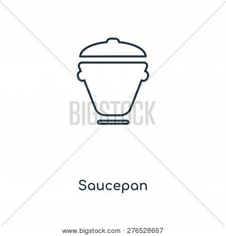 Saucepan Icon In Trendy Design Style. Saucepan Icon Isolated On White Background. Saucepan Vector Ic