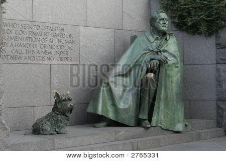 This is a photo taken at the FDR Memorial in Washington DC. poster