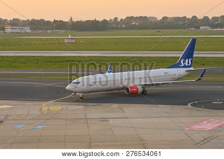 DUSSELDORF, GERMANY - CIRCA OCTOBER, 2018: SAS airplane taxi at Dusseldorf Airport.