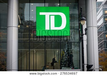 Montreal, Canada - November 6, 2018: Td Bank Logo In Front Of Their Headquarters For Montreal, Quebe