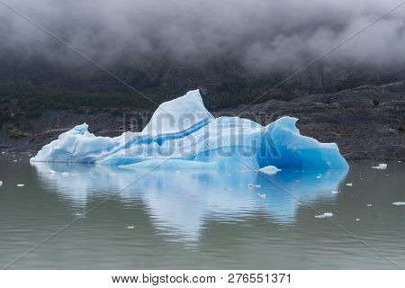 View Of An Iceberg At Grey Lake In Torres Del Paine, Chile