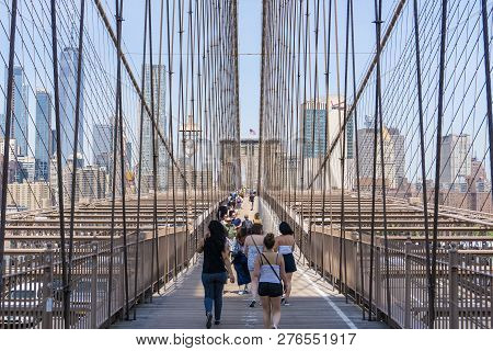 New York, Usa - May 26, 2018: People Visiting Brooklyn Bridge In New York City