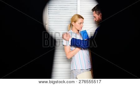 View Through Keyhole. Boss Aggressive Threatening Violence. Witness Of Office Crime. Woman Suffer Vi