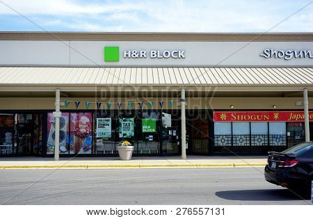 Naperville, Illinois / United States - October 5, 2017: H And R Block Provides Tax Services, In The