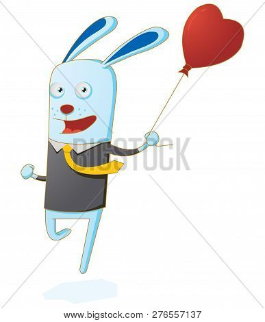 Illustration Of A Little Rabbit Running With Balloon