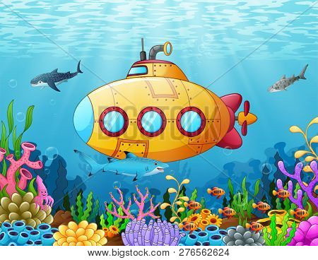 Vector Illustration Of Cartoon Yellow Submarine Underwater