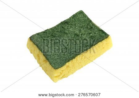 Sponge, Old Sponge Wash, Dish Washing Sponge, Fiber Absorbent Yellow Sponges Cleaning Isolated On Wh