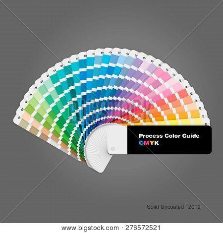 Illustration Of Solid Uncoated Cmyk Process Color Palette Guide For Print And Design, Vector Illustr