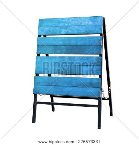 Wood Sign Board, Wood Stick Sign Panel, Wooden Blue Sign Board Flooring Empty Blank For Copy Text Me
