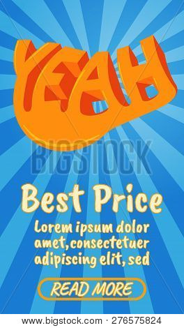 Best Price Concept Banner. Isometric Banner Of Best Price Comics Concept For Web, Giftcard And Postc