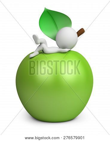 3d Small Person Lies On A Green Apple. 3d Image. White Background.