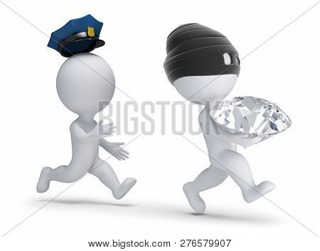 3d Small People - Thief Stole The Diamond And Runs Away From The Policeman. 3d Image. White Backgrou