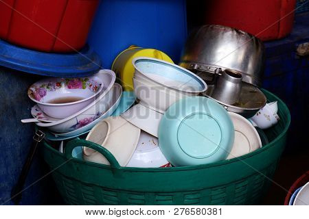 Many Pile Dish Dirty, Pile Plate Of Food Is Waste Trash In Basket Plastic Dirty, Pile Empty And Dirt