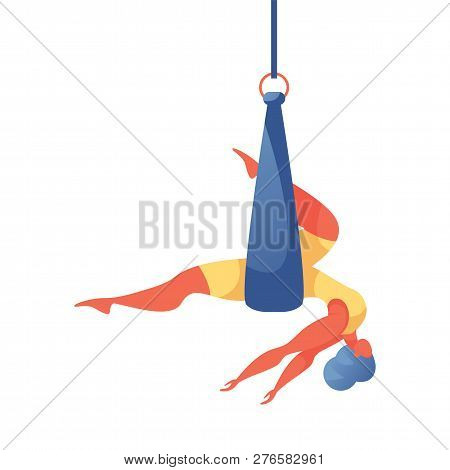 Vector Concept Illustration With Young Oversized Woman Doing Aerial Silk Yoga In Hammock Or Ribbon.