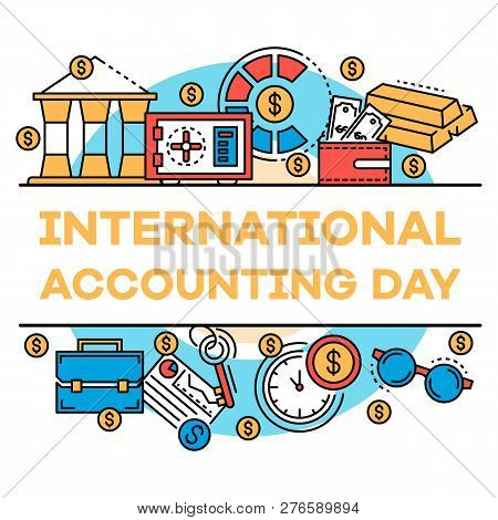 November Accounting Day Banner. Outline Illustration Of November Accounting Day Banner For Web Desig