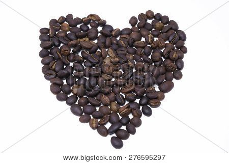 Heart Shape Draw By Coffee Beans. Royalty High-quality Free Stock Macro Photo Image Shape Heart Love