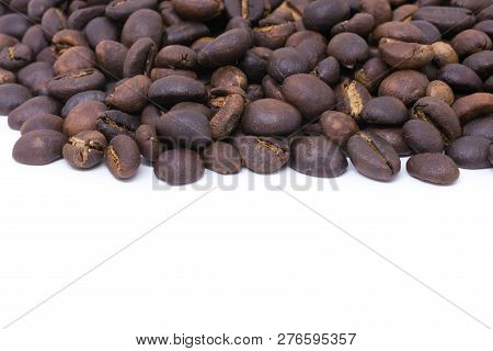Coffee Beans Background Texture Isolated On White Background With Copy Space For Text. Royalty High-