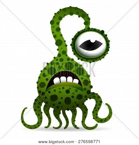 Funny And Scary Bacteria Monster With Tentacles, Cartoon Children S Toy Hero For Halloween, Isolated