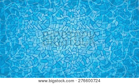 Swimming Pool With Mosaic Tiles. Overhead View. Texture Of Water Surface.  Vector Illustration