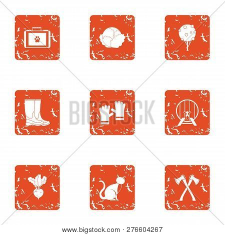 Bestial Rural Icons Set. Grunge Set Of 9 Bestial Rural Icons For Web Isolated On White Background