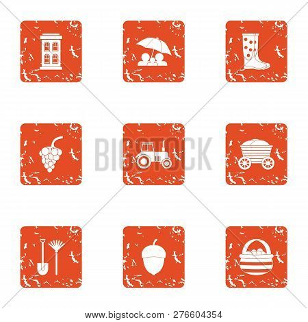 Cold Rural Icons Set. Grunge Set Of 9 Cold Rural Icons For Web Isolated On White Background