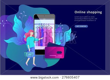 Landing Page Template Of Online Shopping People And Mobile Payments. Vector Illustration Pos Termina