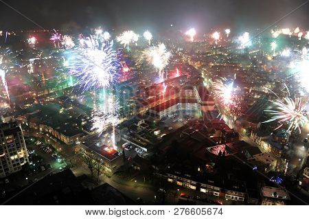 Fireworks On New Years Eve As Seen From A 101 Meters High Building In The Center Of Enschede In The